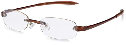 Visualites 205 Oval Reading Glasses,Brown Frame/Clear Lens,2.25 Strength,48 mm