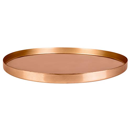 Koyal Wholesale Round Metal Tray, Polished Copper, Candle Holder Centerpiece, Home Décor Decorative Table or Bar Tray, Copper Tray for Plants (Candle Tray Round)