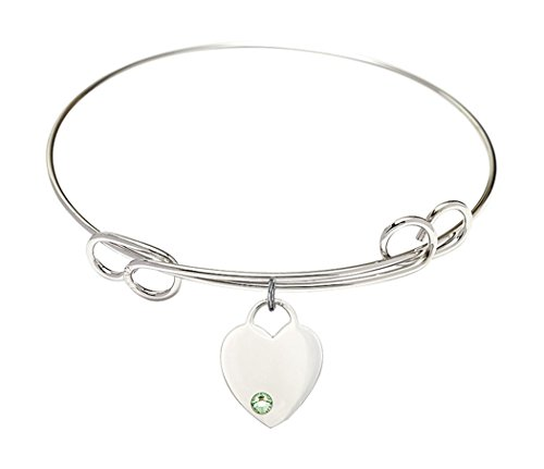 Rhodium Plate Double Loop Bangle Bracelet with August Birth Month Heart Charm, 8 (8 Inch Birth Plate)