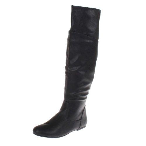 Top Moda Womens Pad-16 Round Toe Knee High Corest Boot,Black,8.5