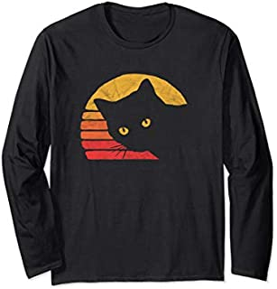 Vintage Eighties Style Cat Retro Distressed Design Long Sleeve T-shirt   Size S - 5XL