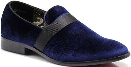 - SPK03 Men's Vintage Plain Velvet Dress Loafers Slip On Shoes Classic Tuxedo Dress Shoes (9.5 D(M) US, Navy Blue (08))