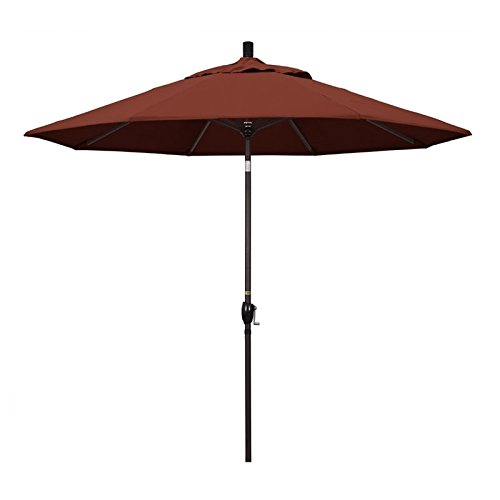 California Umbrella 9' Round Aluminum Market Umbrella, Crank Lift, Push Button Tilt, Bronze Pole, Sunbrella (Henna Sunbrella)