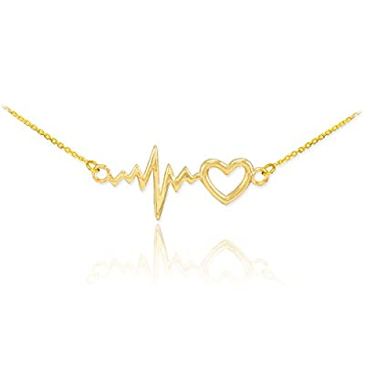 14k Yellow Gold Lifeline Pulse Heartbeat Charm Open Heart Pendant Necklace from Claddagh Gold