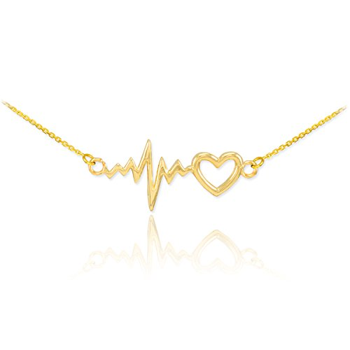 14k Yellow Gold Lifeline Pulse Heartbeat Charm Open Heart Pendant Necklace, 18