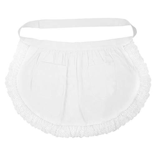 BESTONZON Women's Waist Apron with Pockets Lace Cotton Half Apron Kitchen Party Favors for Maid Waitress Servant(White)]()