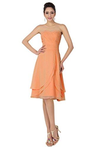 sunvary Sweetheart Columna de longitud por la rodilla Mujer Fiesta Vestidos de dama naranja