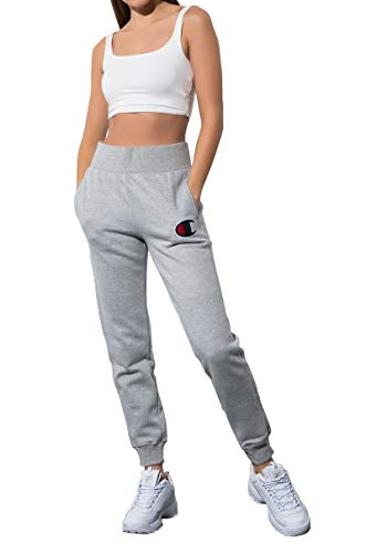 - Champion Womens Reverse Weave Chainstitch Big C Logo Jogger Sweatpants-OXFORD GREY_S