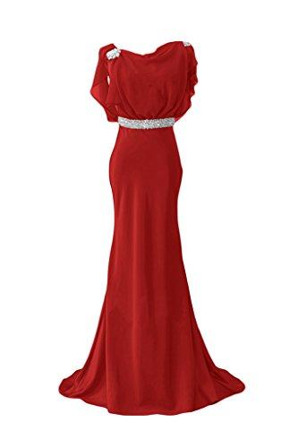 Por la noche vestidos de novia sirena diseño de Toscana de la gasa de la dama de honor de fiesta largo Prom vestidos de satén Rojo