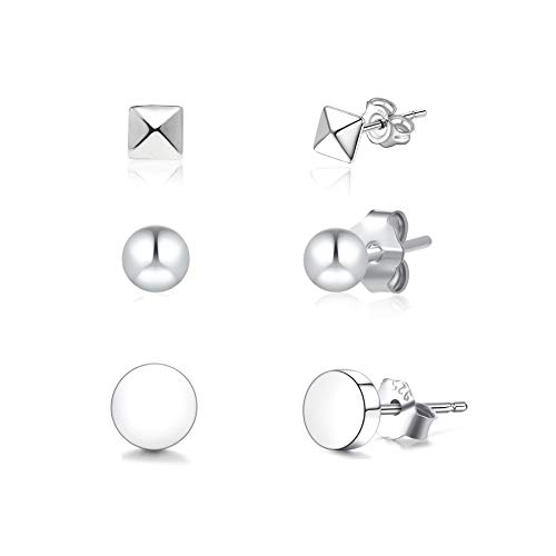 (3 Pairs 925 Sterling Silver Tiny Stud Earrings Set Dot Disc Mini Square Pyramid Ball Earrings)