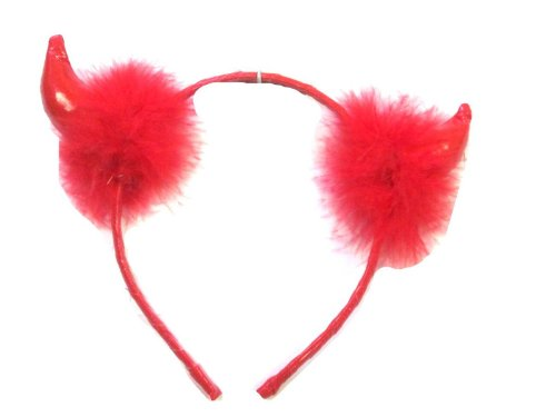 [Red Hair Band/Red Horns/Red Feathers Devils Horns Costume Hen Stag Gothic Halloween] (Hot Halloween Costumes Devil)