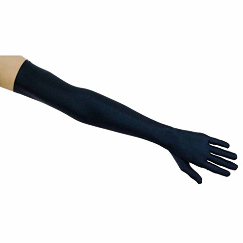 Shooting Stars Matte Satin Opera Length Gloves, Navy Blue (Lady In The Navy Gloves)