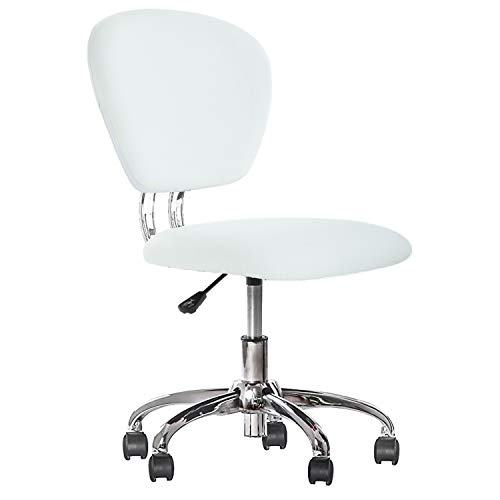 White Swivel Chair - Office Chair Ergonomic Desk Chair PU Leather Computer Chair Task Rolling Swivel Stool Mid Back Executive Chair with Lumbar Support for Women&Men, White