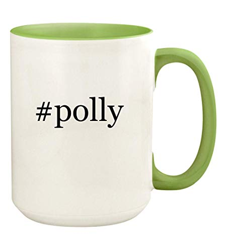 (#polly - 15oz Hashtag Ceramic Colored Handle and Inside Coffee Mug Cup, Light Green)