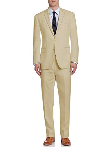(DTI BB Signature Italian Men's Suit Linen Two Button Jacket 2 Piece Modern Fit (38 Short US / 48S EU/W 32