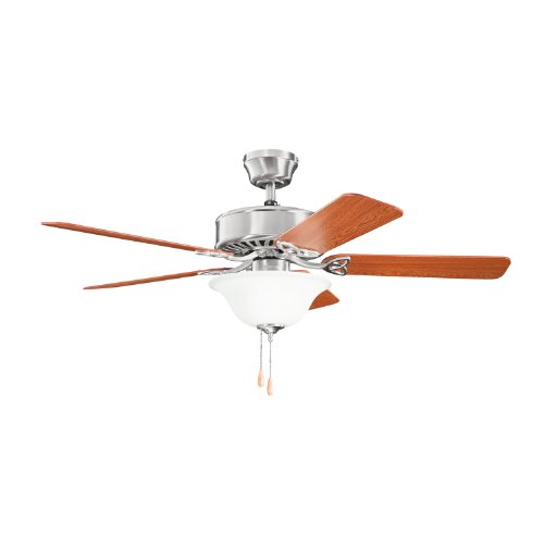 Steel Ceiling Blade (Kichler Lighting 330103BSS Renew Select Es 50-Inch 2-Light Energy Star Ceiling Fan, Brushed Stainless Steel Finish with Reversible Blades and White Etched Glass)