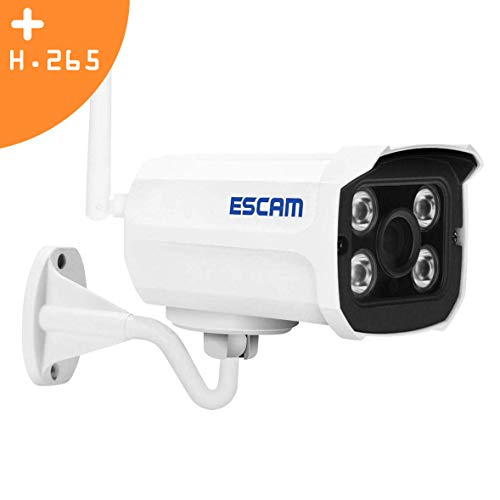 Outdoor Security Camera by ESCAM, WiFi Onvif IP Cam for Home Security System - HD 1080P, Motion Detection, H.265, Ethernet, SD Card Slot Support Max to 128G ESCAM