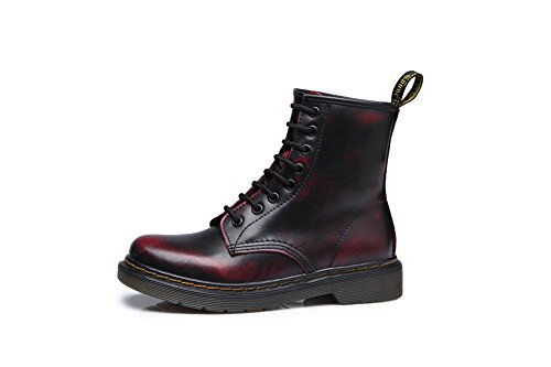 1bacha Men and for Military Red Women Tortor Black Boots Leather Combat Fashion TFBdq4B