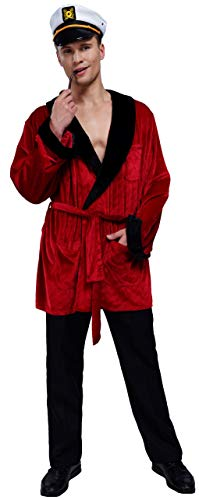Hugh Hefner Halloween (Maxim Party Supplies Men's Velvet Smoking Robe Jacket with Belt Includes Captain Hat and Pipe Costume (Medium/Large))