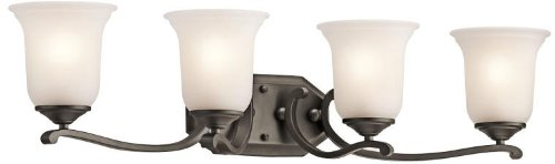- Kichler 45404OZ Bath Vanity Wall Lighting Fixtures, Bronze 4-Light (33