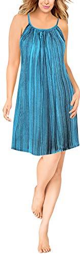 - LA LEELA Women's Summer Tunic Top Swing T-Shirt Loose Beach Sundress Swim Cover Up Rayon Tie Dye Turquoise_L291