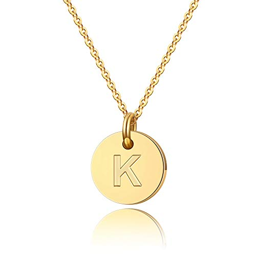 - Turandoss Initial K Necklace Gifts for Girls - 14K Gold Filled Disc Initial Necklace for Women, Tiny Initial Necklace for Girls Teens Baby, Disc Initial Necklace for Women Girls