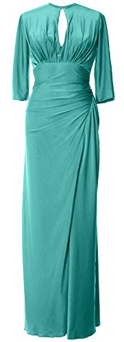 MACloth Women Half Sleeve Jersey Long Mother of Bride Dress Formal Evening Gown Turquesa
