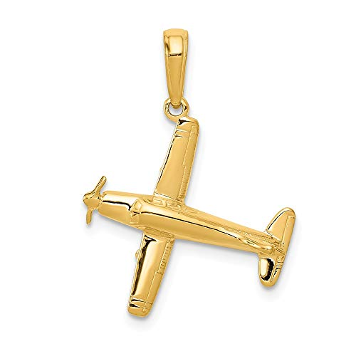 - 14k Yellow Gold 3 D Low Wing Airplane Pendant Charm Necklace Travel Transportation Man Fine Jewelry Gift For Dad Mens For Him