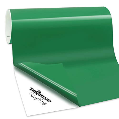 TECKWRAP Permanent Adhesive Vinyl for Craft, 1ftx6ft, Gloss Kelly Green