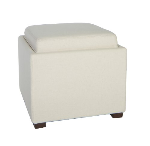 Cortesi Home Linen Fabric Mavi Tray Top Storage Cube Ottoman, White