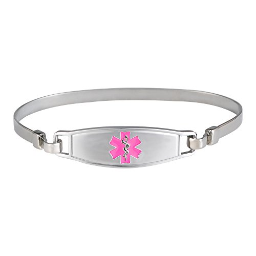 Divoti Deep Custom Laser Engraved Simple Elegant Pure Titanium Medical Alert ID Bangle Bracelet for Women w/Free Engraving - Entirely Made of Pure Titanium - Nickle Free -Pink-8.0