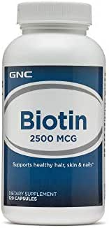 GNC Biotin 2500mcg, 120 Capsules, Supports Healthy Hair, Skin and Nails