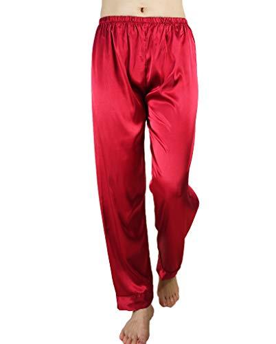 Wantschun Womens Satin Silk Sleepwear Long Pajamas Pants Nightwear Loungewear Pj Bottoms Trousers Wine Red US Size L -