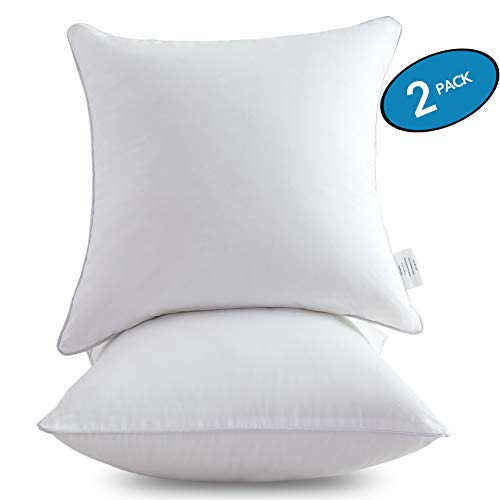 MoMA 18 x 18 Pillow Inserts (Set of 2) - Throw Pillow Inserts with 100% Cotton Cover - 18 Inch Square Interior Sofa Pillow Inserts - Decorative Pillow Insert Pair - White Couch Pillow (18 Pillow Insert)