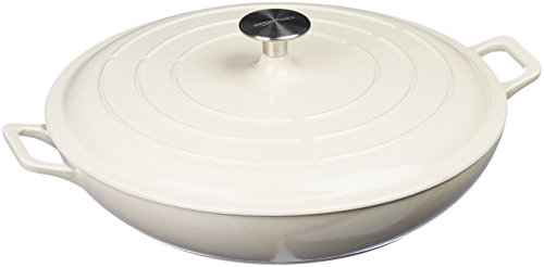 (AmazonBasics Enameled Cast Iron Covered Casserole Skillet, 3.3-Quart, White)