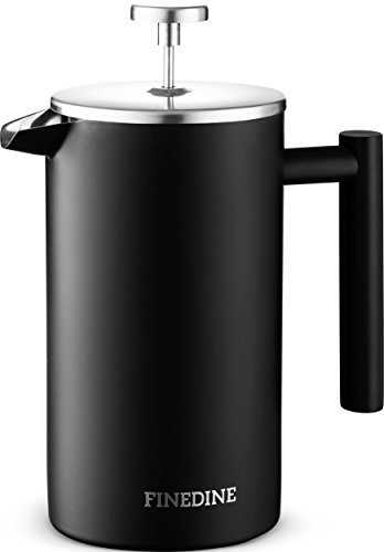 Finedine French Press Coffee Maker - (34-Oz) 18/8 Stainless Steel Double Wall Insulated Retains Heat Longer - Triple-Screen Grounds Filter System, Sleek Matte Black, Extra Filter & Components Included