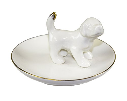 Sagebrook Home AC10422-06 Ring Plate W/ White Dog Ceramic, 3.75 x 3.75 x 2.5 Inches