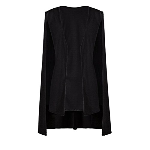 Slim Loose Cape Women Unique Jacket Cloak Style Cardigan Blazer Coat Quality Designed High Solid Hiahui Black Coat Long z5Yqzw