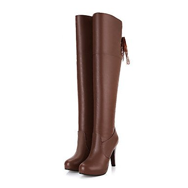Boots UK3 Mid EU35 Boots amp;Amp; Pointed Fall Women'S Stiletto Heel Comfort Novelty Boots Career Spring Office Zipper Pu Toe Calf Shoes Fashion US5 RTRY For CN34 Dress xaRWq64Sq