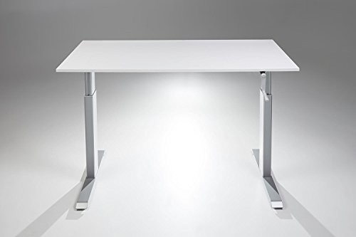 FlexTable Hand Crank Height Adjustable Sit Stand Desk w/ Silver Frame (X-Large 29' x 72', White)