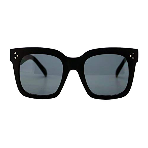 Womens Oversized Fashion Sunglasses Big Flat Square Frame UV 400 (matte black)
