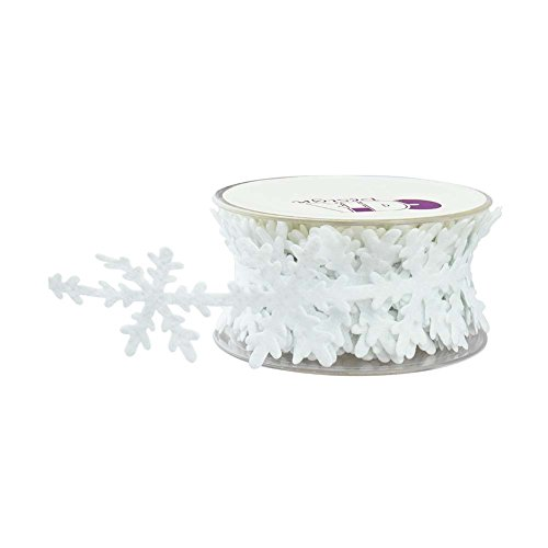 Fowod Winter Christmas Snowflake Decoration Trimming Craft,11 Yard/33 Feet,1.6 Inch Wide (Christmas Fabric Crafts)