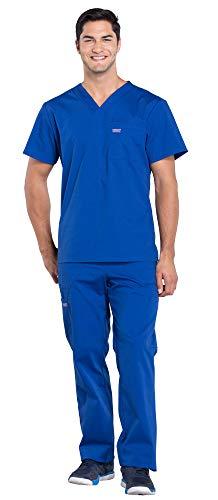 Cherokee Workwear Professionals Men's 1 Pocket V-Neck Scrub Top WW675 & Men's Drawstring Cargo Scrub Pants WW190 Medical Uniforms Scrub Set (Galaxy Blue - X-Large/XL Tall)