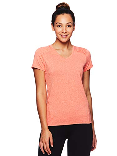 (HEAD Women's Brianna Shirred Short Sleeve Workout T-Shirt - Marled Performance Crew Neck Activewear Top - Brianna Peach Echo Heather, Large)