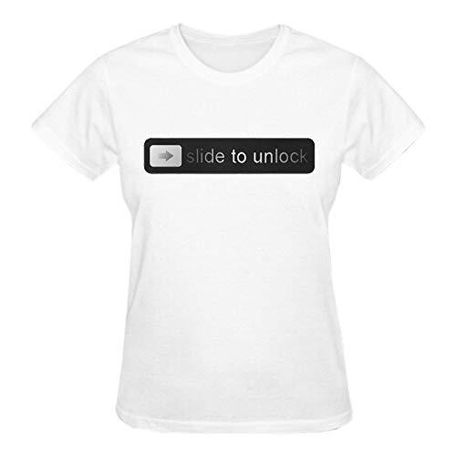 (LOV-Tshirts Print T Shirt Slide to Unlock Crew Neck T Shirts Relaxed for Womens S White)