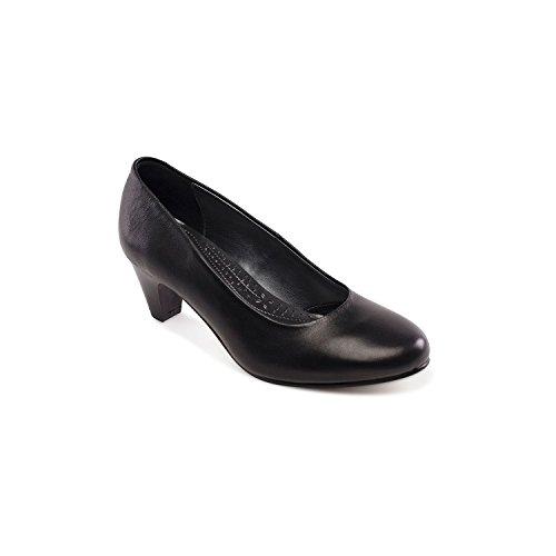 Padders Women's Court Shoe 'Jane' | Extra Wide EE Fit | 5cm Heel | Free Footcare UK shoehorn Black Xa1D0lQ