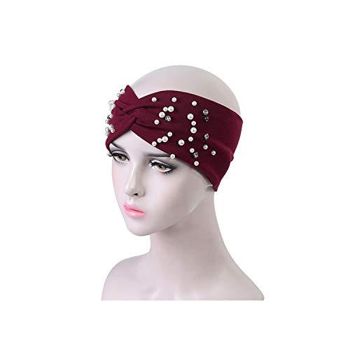(Twist Turban Headband Knot Elastic Sport Band Pearls Headbands Headwear Hair Accessorie,6 )