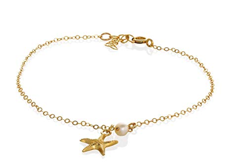 Beach anklet starfish pearl gold anklet summer foot jewelry anklet for women 8.5