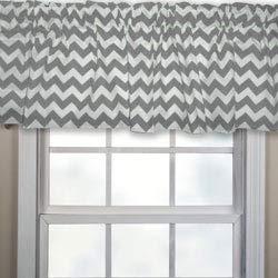 Chevron Window Valance, Color: Grey, Widow Width: 72'', Window Length: 12'' by Baby Doll