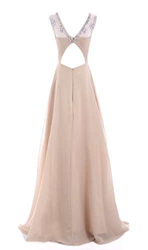 Abend 'bridesmaid dress49 Damen champagnerfarben Ball Line Edelsteinbesetztes A missydress Chiffon qZCwvfY